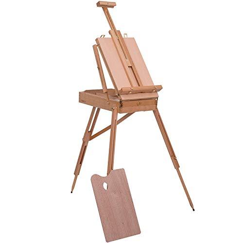 Caballete de madera ajustable con trípode para estudiante artista, caja de almacenamiento plegable para caballete de escritorio, para dibujo pintura, bocetos exhibición de suministros de arte