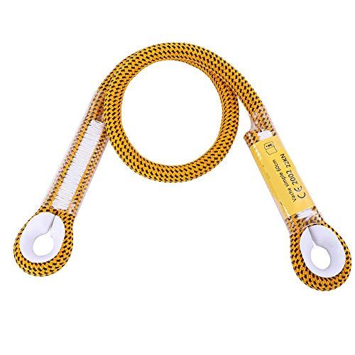 Alomejor Klettern Fallschutz Seil Durchmesser 10,5 mm Auge-zu-Auge-Überlebens-Klettersicherheitsseil mit Ringlager(60cm-Gelb)
