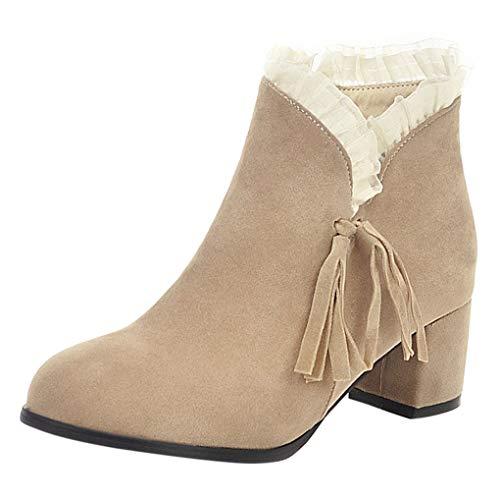Dorical Damen Stiefeletten Chelsea Boots mit Keilabsatz Profilsohle Flandell Kurz Damenstiefel mit Quaste Spitze Reißverschluss Schuhe Booties Schwarz, Beige Gr 35-43(Beige,37 EU)