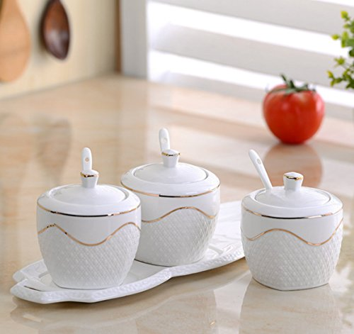 DDPP Porcelain Condiment Container Spice Jar With Lids Ceramic Serving Spoon, Best Pottery Cruet Pot For Your Home, Kitchen, Counter. White, Set Of3,1