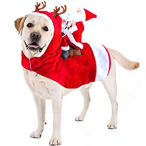Kyerivs Dog Christmas Costume Dog Santa Claus Costume Dog Cat Christmas Holiday Outfit Pet Christmas Clothes Running Santa Claus Riding on Pet for Medium to Large Sized Dogs XXL