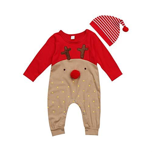 Body para Bebé Recién Nacido Unisex Invierno Navideño Mameluco Bebé Navidad Manga Larga con Dibujo Papá Noel y Alce Mono Bebé Unisex para Niños de 0-24 Meses (Ciervo, 6-12 M)