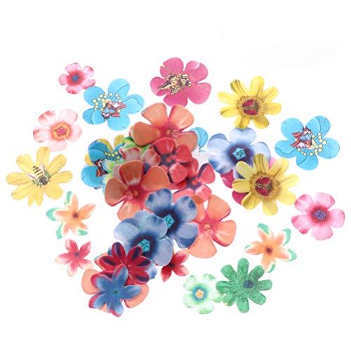 Cabilock 180 unidades de flores comestibles para decoración de tartas, papel de flores, cupcakes, decoración para bodas, baby shower, cumpleaños