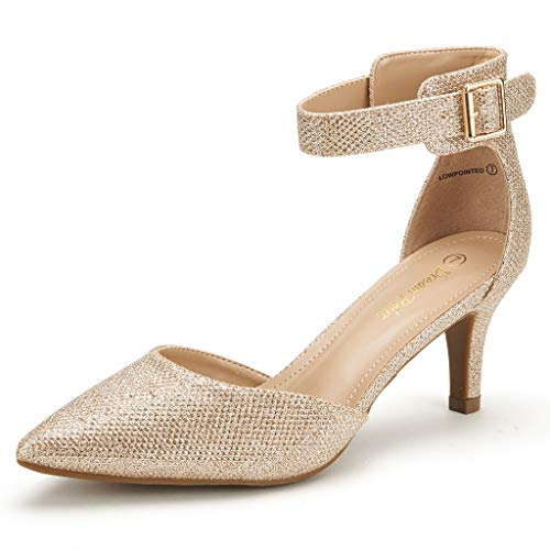 DREAM PAIRS Women's Lowpointed Gold Glitter Low Heel Dress Pump Shoes - 5.5 M US