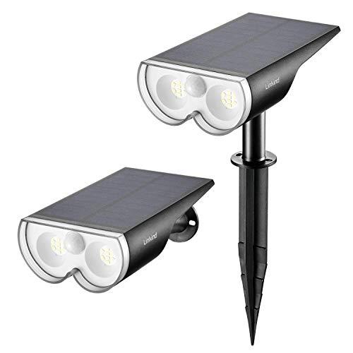 Linkind Solar Solarlampe mit Bewegungsmelder, IP67 Wasserdicht Außen- Wandleuchte, 650lm Sehr Hell Solarleuchte für Garten, Eingangstür, Garage, 2er Pack