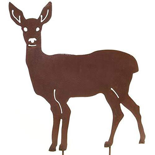 Wunderschöner & Hochwertiger Gartenstecker - Tier Figur – Rost Stecker/Tierfigur – Große Auswahl – Edelrost Gartenfigur – Metall Gartendeko (REH - Höhe 70cm)