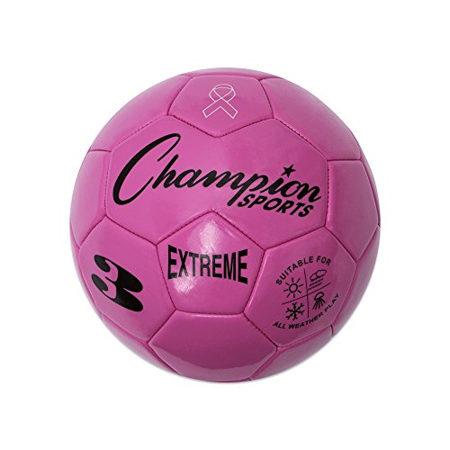 Champion Sports Extreme Series Soccer Ball, Size 3 - Youth League, All Weather, Soft Touch, Maximum Air Retention - Kick Balls for Kids Under 8 - Competitive and Recreational Futbol Games, Pink