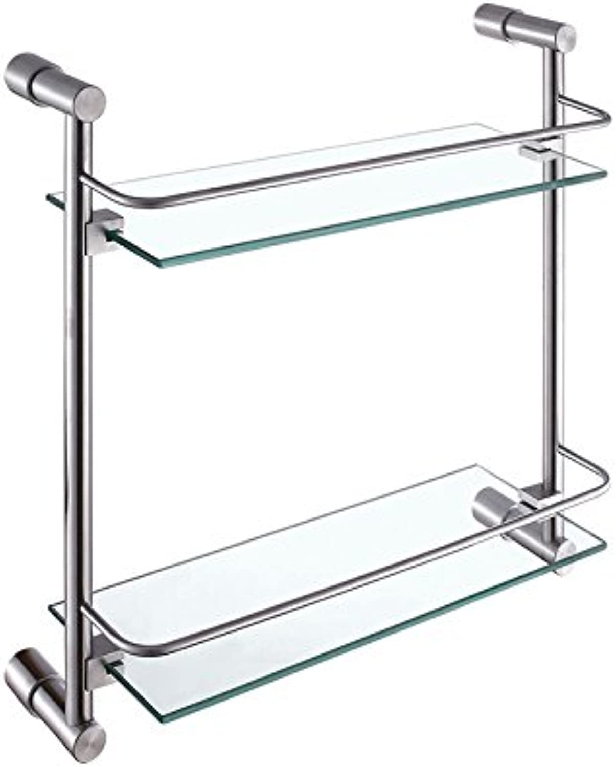 Stainless steel bathroom double glass shelf,A-@wei