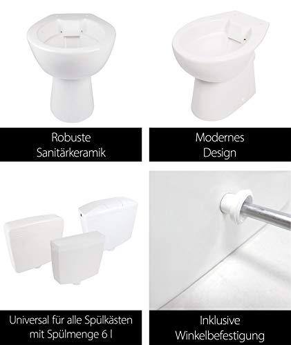 Stand-WC | Spülrandlos | Tiefspüler | Abgang waagerecht | Weiß | Toilette | Spülrandloses WC | Klo | Stand-WC | Randlos - 3