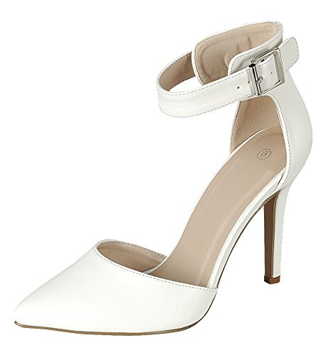Cambridge Select Women's Closed Pointed Toe D'Orsay Buckled Ankle Strap Stiletto High Heel Pump,8 B(M) US,White PU