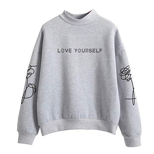 SERAPHY WOOKIT Unisex Kapuzenpullover Love Yourself Rollkragen Sweatshirts für Armee Suga Jimin Jin Jung Jook J-Hope Rap-Monster V grau XL