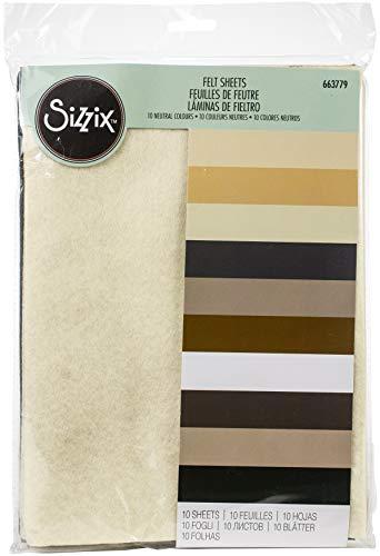 Sizzix Surfacez-Fabricación de Hojas de Fieltro Esenciales 10PK (10 Colores neutros), Neutrals,...