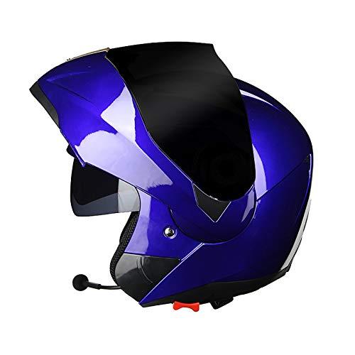Casco de Motocicleta Modular Integrado Bluetooth,Cascos Modulares de Moto de Visera Doble con Anti Niebla Visera Completa para Hombres y Mujeres,Certificacion Dot C,L=56~58CM