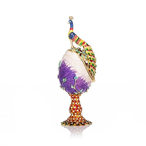 QIFU-Hand Painted Enameled Faberge Egg Style Decorative Hinged Jewelry Trinket Box Unique Gift For Home Decor