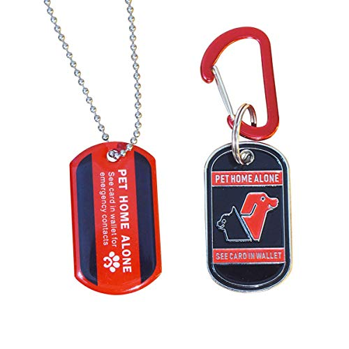 WINGKIND Pet Emergency Alert Kit, Pets Home Alone Key Tags/Dog Tags Pendant Necklace with Contact Wallet Cards