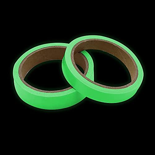 JPGhaha 2 Rollos cinta luminosa en la oscuridad 5m x 15mm y 5m x 20mm Cinta Fluorescente Adhesiva Seguridad Impermeable Extraíble para Decorar Interior de Fiesta y como Advertencia - Verde