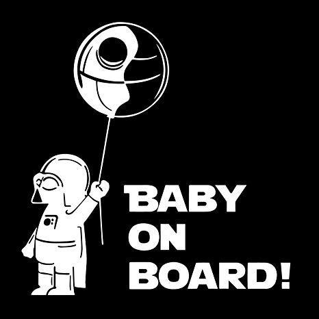 Custom Vinyl Baby On Board Darth Vader Star Wars Pegatina Ventana de Coche camión Decoración De Vinilo (Blanco)