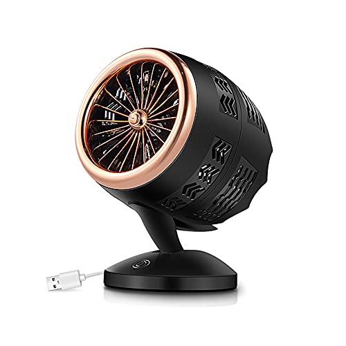 Ventilador USB, Portatil Mini Ventilador Silencioso, 2 Velocidades Potente Ventiladores Pequeño de Mesa, Personal Portátil Ventilador, para Oficina/Hogar/Viajar/Acampar (Gold Black)