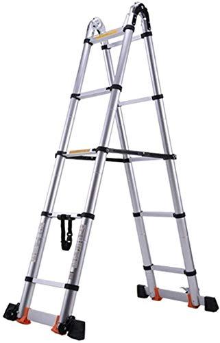 Escalera de heces Las escaleras telescópicas,9.5Ft Heavy Duty multiuso telescópica escalera,escalera de extensión de aluminio portable de Ingeniería de carga Loft,Capacidad 330Lbs Escala de seguridad
