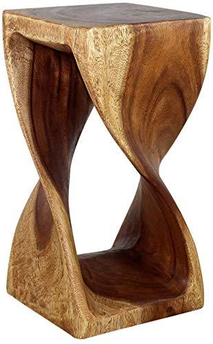 Haussmann Original Wood Twist Stool 12 X 12 X 23 in High Walnut Oil