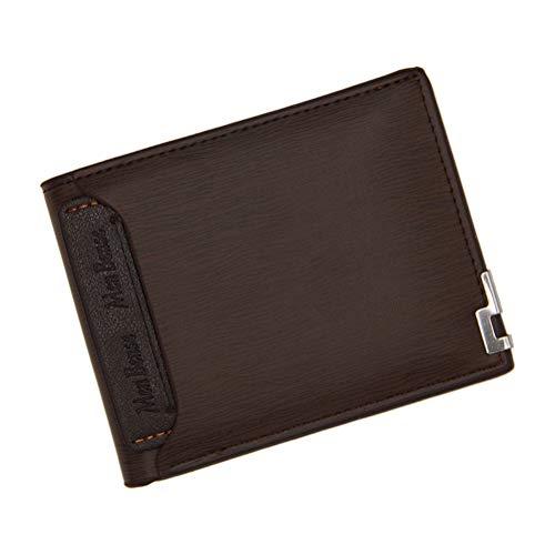 Billetera multifuncional para hombres, billetera de cuero PU, doble capa, capa superior, borde de hierro de moda, monedero, monedero, párrafo corto (color café oscuro)