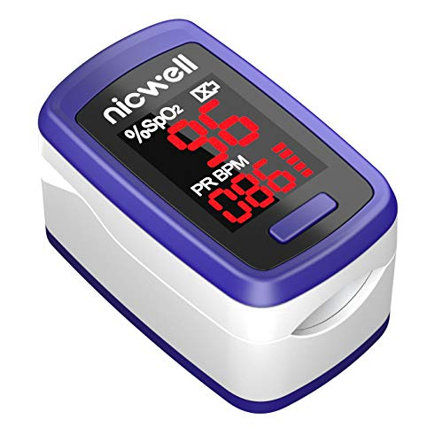 Pulse Oximeter Fingertip - Lovia Accurate Automatic Digital Blood Oxygen Saturation Monitor for Home Use & Heart Rate Monitor with Lanyard, Rotatable OLED Display