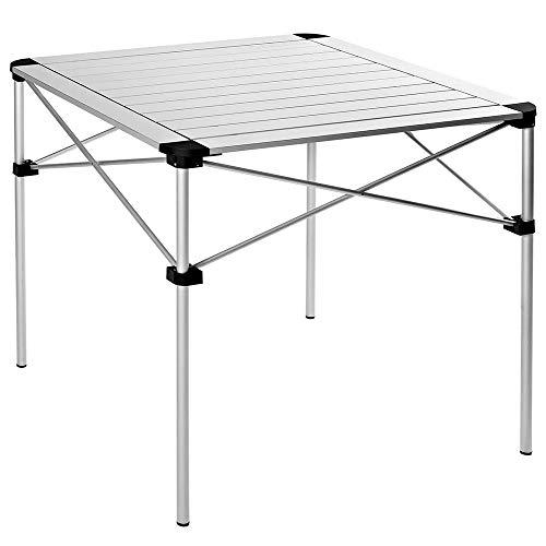 HWZQHJY Mesas Plegables, Acampar Rueda for Arriba el Aluminio Portable Mesa Cuadrada de excursión al Aire Libre de Picnic, 28' x 28' w/Bolsa de Transporte, de Plata