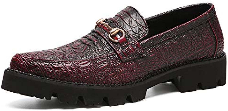 LOVDRAM Men'S shoes Pointed Crocodile Pattern shoes Men'S Wedding shoes Red Quality Men'S shoes
