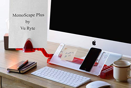 Vu Ryte Memoscape Document Copy Holder, Ergonomic Home Office Desk Organizer, in-Line with Monitor, Includes Side Arm Support, Translucent Red, VUR 3060, Available in Multiple Colors