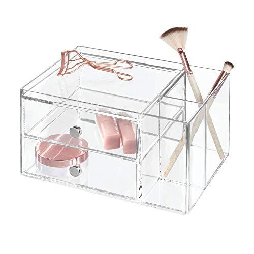 iDesign Drawers Schubladenturm | stapelbare Schubladenbox mit 2 Schubladen & Seitenfächern für Beauty Produkte, etc. | Sortierbox auch für Bürozubehör | Kunststoff transparent