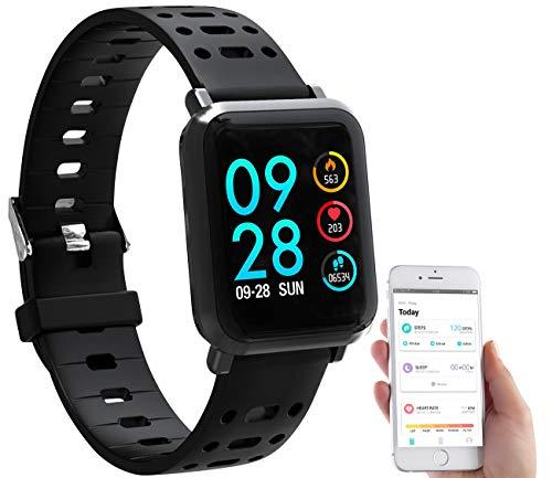 Newgen Medicals Sportuhr: Fitness-Uhr SW-320.hr mit Herzfrequenz-Anzeige, Bluetooth, IP68 (Smartwatch mit Blutdruck)