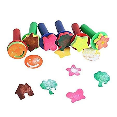 Kinder-Frühlern-Mini-Schwamm-Stempel, Schaumstoff-Malerpinsel, Blumenstempel für Kinder, zum Basteln, Graffiti-Zeichnen, 6 Stück