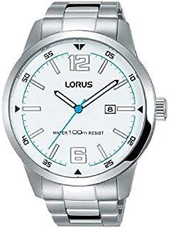 RH981HX9  ساعة لوراس الرياضية ، كوارتز ، مقاومة للماء حتى 100 متر ، فضي مع وجه أبيض