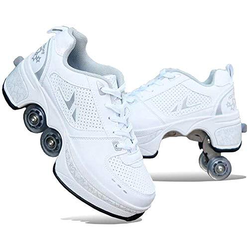 Pinkskattings@ Unisex Adult Roller Skates Sneaker met 4 Wiel Automatische Wandelschoenen Onzichtbaar, Kleur Wit Maat 31-43