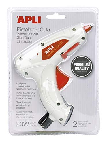 APLI 16668 - Pistola de cola PREMIUM termofusible Hot Melt 20W con 2 barras de cola, color Blanco, Única