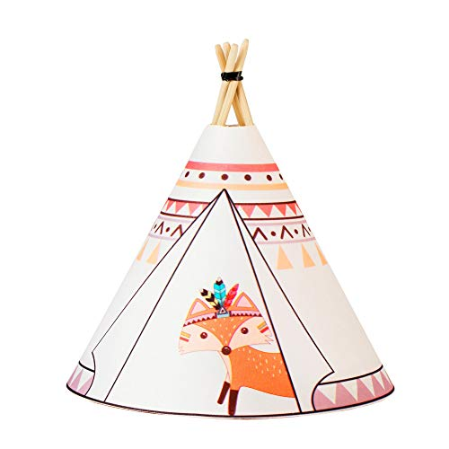 Pauleen 48031 Twinkle Tipi Fox, luminaria de sobremesa con Pilas, lámpara Infantil LED, Blanco, Zorro, Tela/Madera