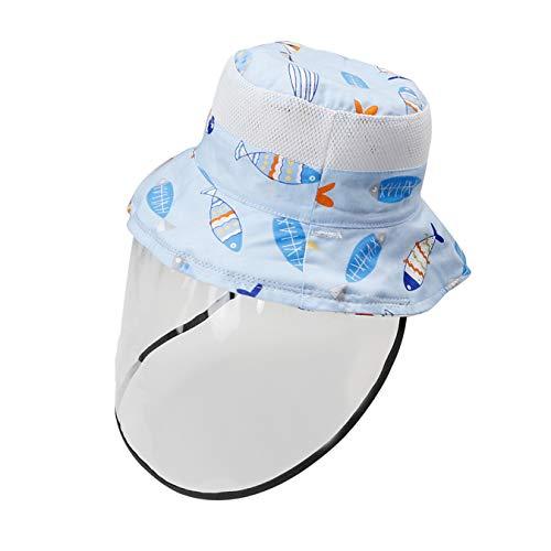 Happy Cherry Breite Krempe Fischerhut mit Sonnenhut Verstellbarer Hut breiter Sonnenschutz UPF für Baby Jungen Säugling Kind Unisex Hellblau 6-12 Monate