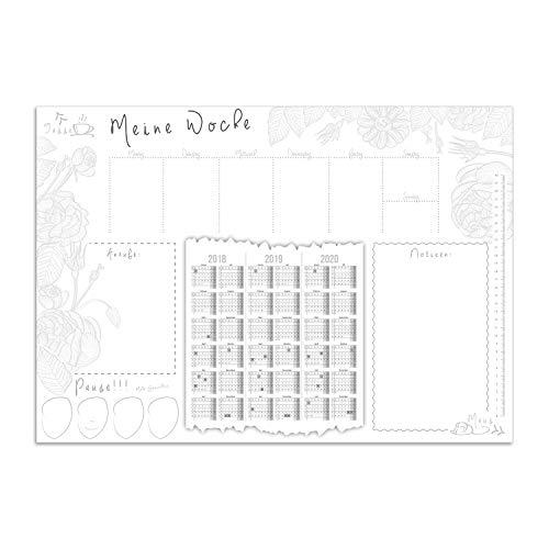 Schreibtischunterlage Meine Woche mit 3-Jahres-Kalender, Notiz-Fläche, Anrufliste I DIN A2 Schreib-Unterlage aus Papier zum Abreißen I dv_027