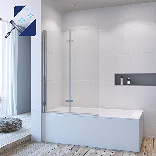 AQUABATOS® 100 x 140 cm Duschwand für Badewanne Duschabtrennung Badewanne faltbar Duschtrennwand Badewannenfaltwand Badewannenaufsatz aus 5 mm Einscheiben Sicherheitsglas Echtglas Nano Beschichtung