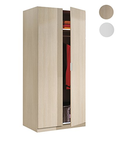 Habitdesign LCX022R - Armario Dos Puertas, Color Roble, Medidas: 180 x 81...
