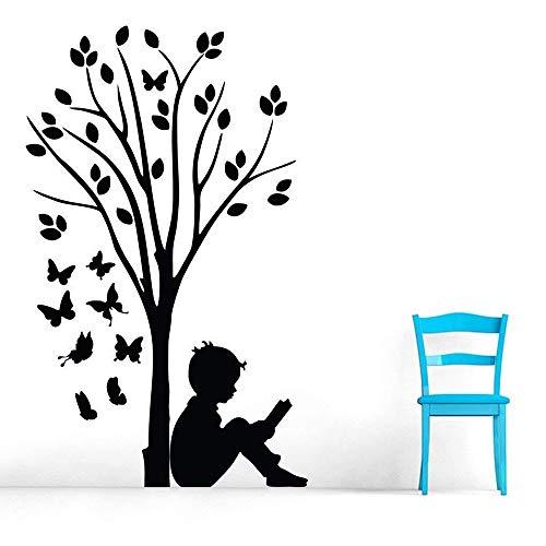 Pegatinas de pared de vinilo niño leyendo bajo el árbol arte de la mariposa dormitorio de los niños escuela sala de lectura decoración de interiores decoración de interiores calcomanías