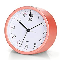 Laigoo Analog Alarm Clock for Girls, Silent Non-Ticking Desktop Clock Round Travel Alarm Clock Battery Operated Bedside Clock with Snooze & Nightlight Function for Home Bedroom/Office(LightCoral)