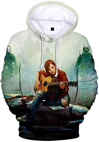 FLYCHEN Uomo Felpa con Cappuccio The Last of Us Parte II 3D Stampato Grafico Realistico Costume Gioco Personalizzato Pullover - Ellie 19687 - XXL