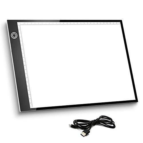 Mesa de Luz A4, Caja de Luz Portátil con USB, Control Táctil Stepless ajustado,Dibujo Portátil Almohadilla de Luz para Dibujo de Copia, Animación, Bocetos, Stencilling, etc.