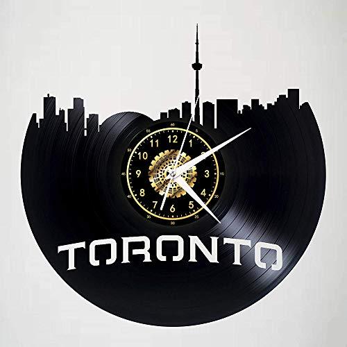 SKYTY Reloj de Pared de Vinilo Toronto Zenith Building-Sky Dome - Retro Atmosphere Silhouette Record Handmade Gift Cool Home Art Decor No led 12 Inch