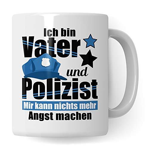 Tasse Polizei, Geschenk für Polizisten, Becher Polizist Vater Geschenkidee Kaffeetasse, Polizist Papa Vatertag Ausbildung Polizeibeamter Kaffeebecher lustig