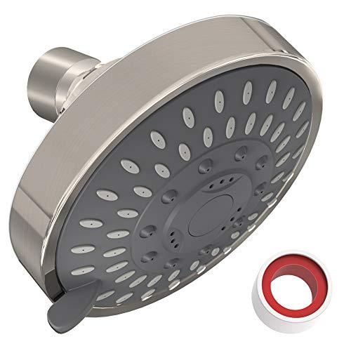 Review Shower Head High Pressure 4 Inch Showerhead 5-setting Adjustable Shower Head, Rain Shower Hea...