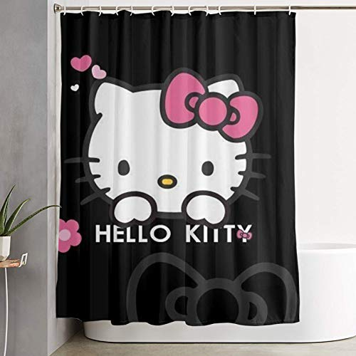 RGFK Hello Kitty Shower Curtain Water Repellent Curtain Liners with 12 Hooks Bathroom Machine Washable 59 x 70 inche