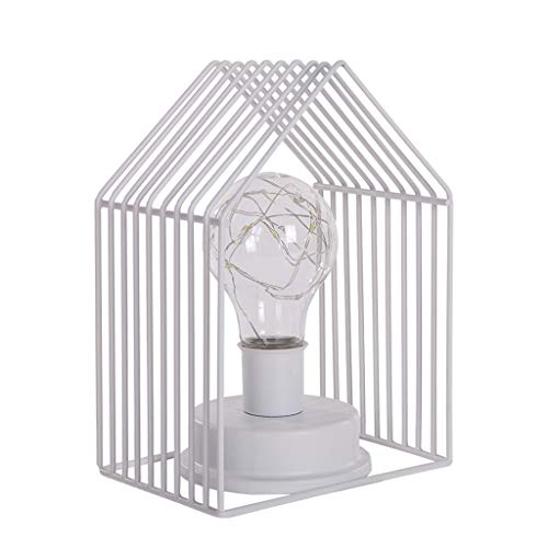 Pinleg Nordic Style Small House Lamp Creative Light Nightstand Lamps The Best Gifts Decoration for Kitchen Bedroom Living Room College Dorm Kids Room (White)