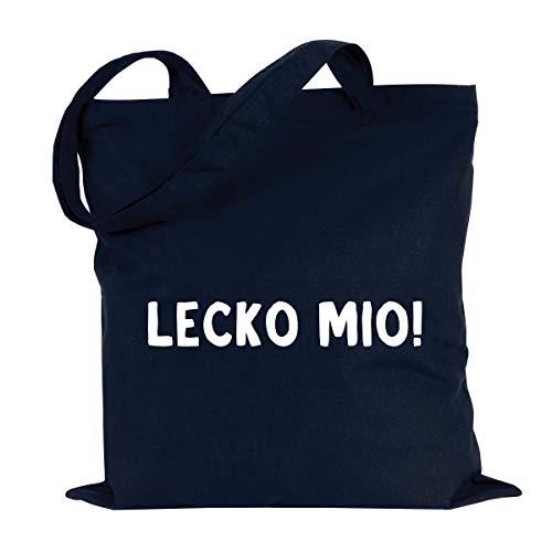 JUNIWORDS Jutebeutel, Wähle ein Motiv & Farbe, Lecko mio! (Beutel: Marine Blau, Text: Weiß)